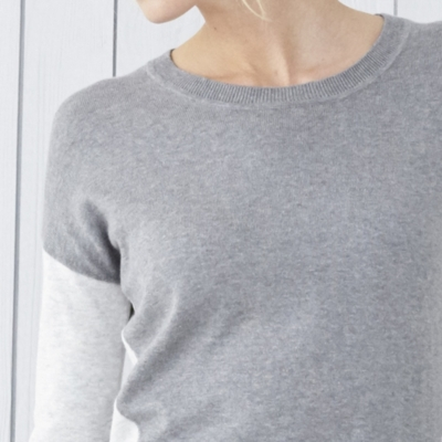 Color Block Curved Hem Sweater - Pale Gray Marl