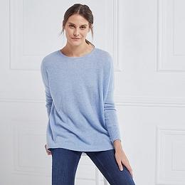 Cashmere Curved Hem Sweater - Denim Blue Marl