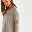Cashmere Curved Hem Sweater - Oatmeal Marl