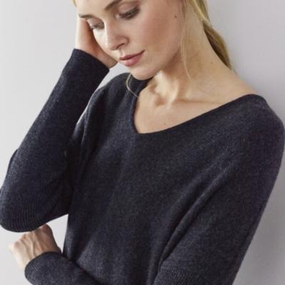 Cashmere V-Neck Curved Hem Sweater - Dark Charcoal Marl