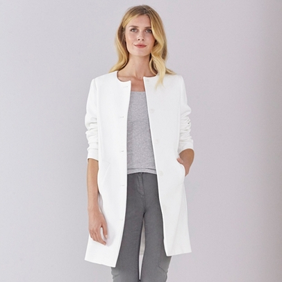 Collarless Coat | Clothing | Offers | The White Company UK