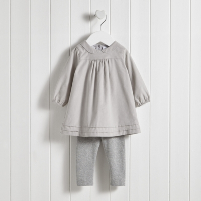 Mock Collar Cord Dress & Leggings Set