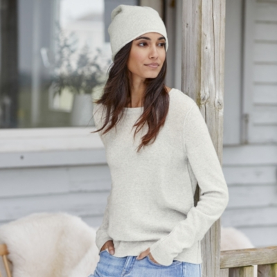 Cashmere Exposed Seam Sweater - Pale Gray Marl