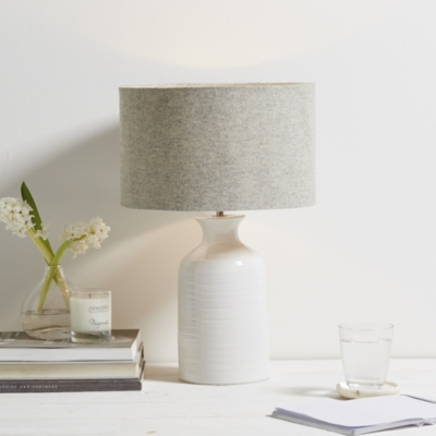 Ceramic small bottle table lamp table lamps the white company uk white grey aloadofball Images