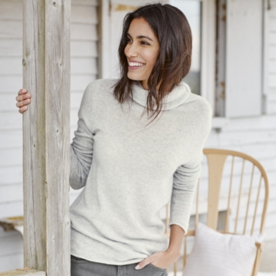 Cashmere Funnel Neck Sweater - Pale Gray Marl