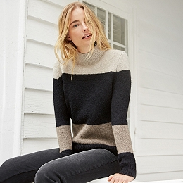 Colorblock Funnel Neck Sweater