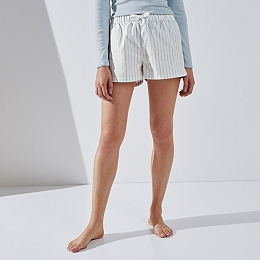 Cotton Stripe Pajama Shorts
