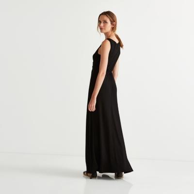 Cross Front V Neck Maxi Dress
