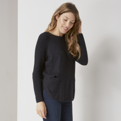 Curved Hem Button Back Sweater - Dark Charcoal Marl