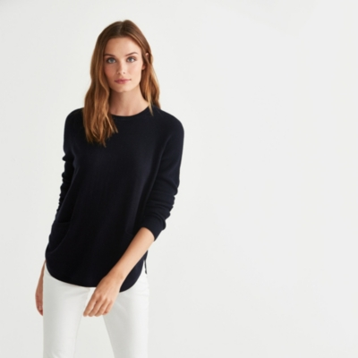 Curved Hem Button Back Pocket Sweater