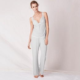 Jersey Chantilly Lace Trim Pajamas - Silver Gray
