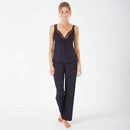 Jersey Chantilly Lace Trim Pajamas - Navy