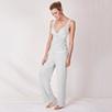 Chantilly Lace Trim Pajama Set - Silver Gray