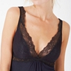Chantilly Lace Trim Pajama Set - Navy