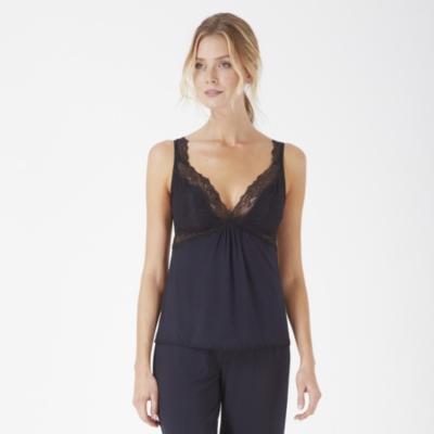 Chantilly Lace Trim Pajama Set - Navy