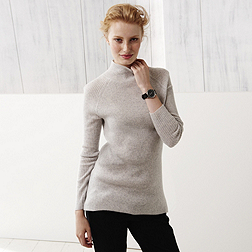 Cashmere long line Jumper - Pale Grey Marl