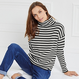 Chunky Stripe Roll-Neck Sweater