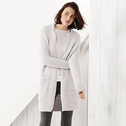 Chunky Tuck Stitch Cardigan - Pale Grey Marl