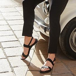 Calf Hair Double Strap Sandals