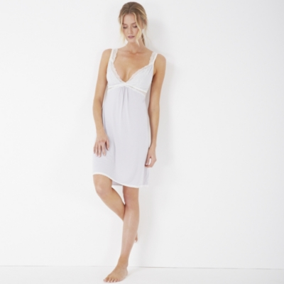 Jersey Chantilly Lace Trim Nightgown - Silver Gray