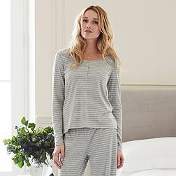 Stripe Top - Grey White Stripe