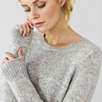 Curved Hem Speckled Sweater - Gray