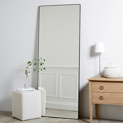 Chiltern thin metal full length mirror mirrors the for Black framed floor length mirror
