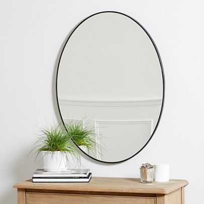 Chiltern thin metal oval mirror mirrors the white for Skinny wall mirror
