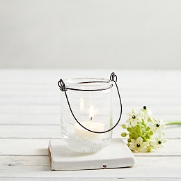 Bubbled Glass Hanging Tealight Holder