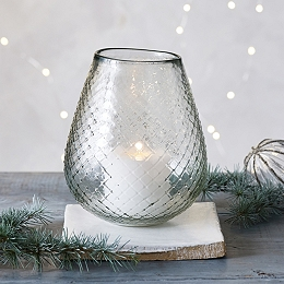 Diamond-Etched Curved Candle Holder