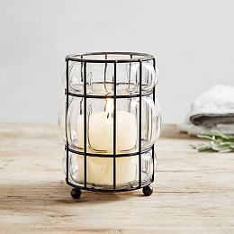 Captured Glass Small Hurricane Lantern
