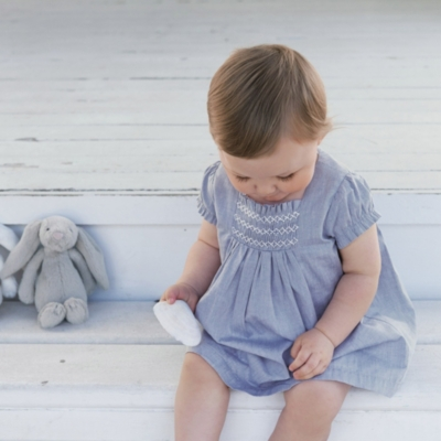 Baby Girls' Smocked Chambray Dress