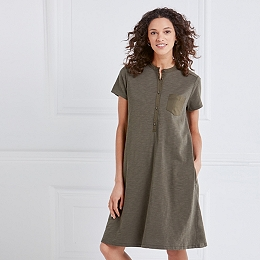 Cotton Pocket Shirt Dress - Khaki