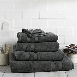 Classic Double Border Towels - Charcoal Grey
