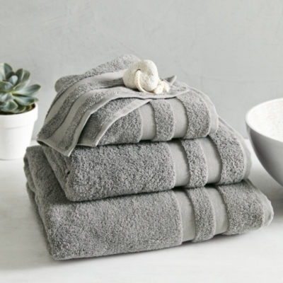 Classic Double Border Towels - Storm Gray
