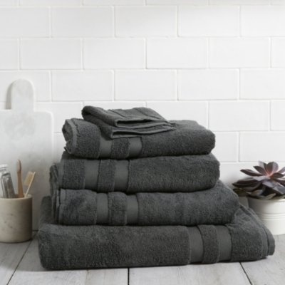 Classic Double Border Towels - Pewter