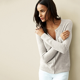 Cashmere Lightweight Cardigan - Cloud Marl