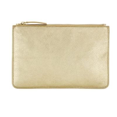 Classic Leather Clutch - white gold