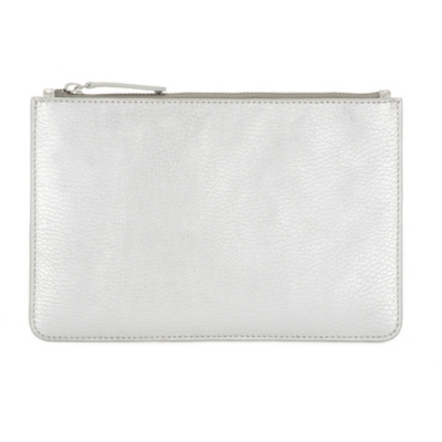 Classic Leather Clutch - Silver