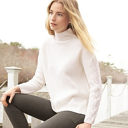 Wool Cable Sleeve Sweater