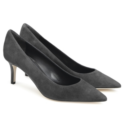 Suede Court Shoes - Gray