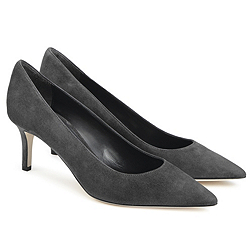 Suede Court Shoes - Grey
