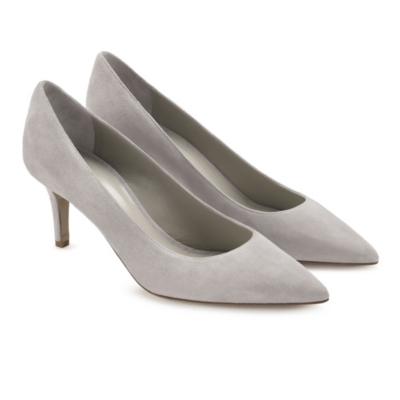 Suede Court Shoes - Pale Gray