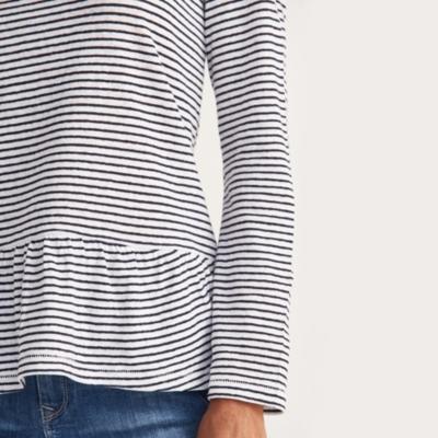 Linen Striped Peplum Top