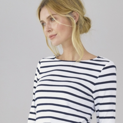 Classic Breton Stripe Top - White Navy