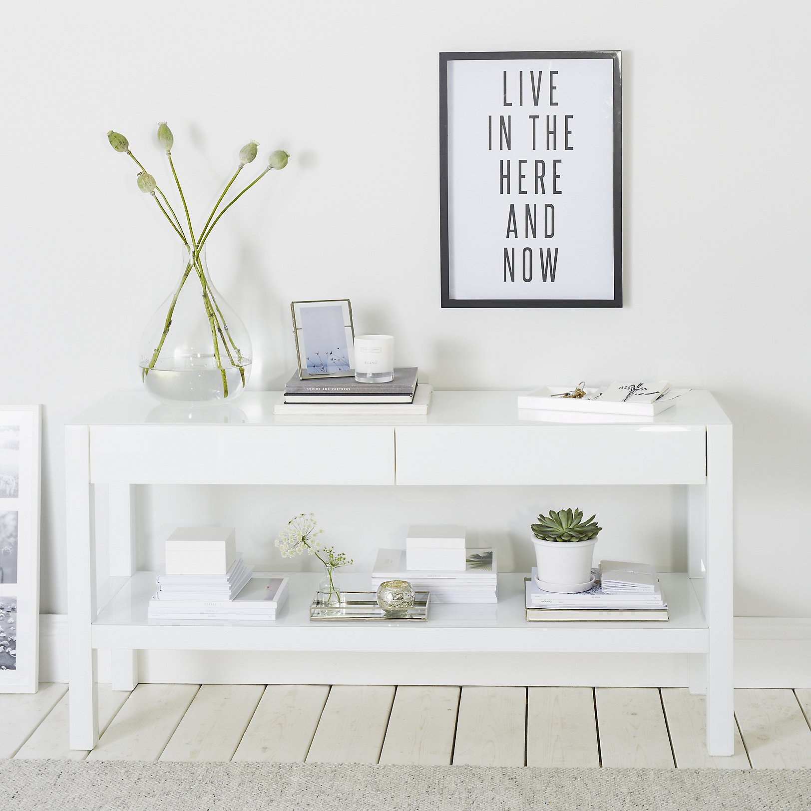 carlton low console table  tables  furniture  home  the white  - carlton low console table  white