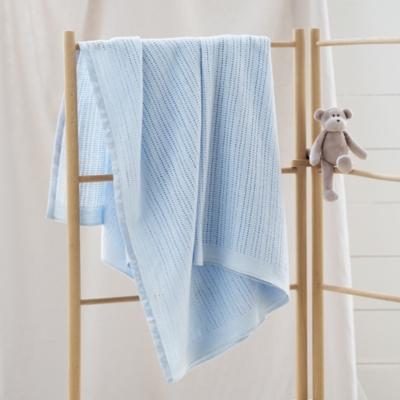 Satin Edged Cellular Baby Blanket - Blue