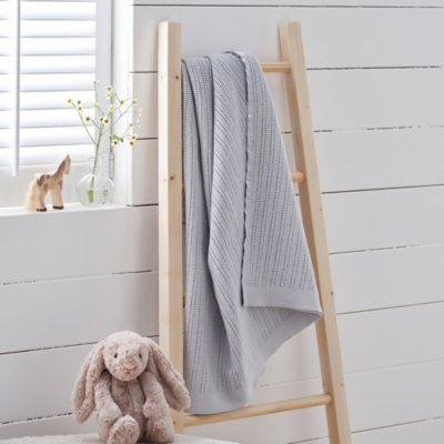 Satin Edged Cellular Baby Blanket - Grey