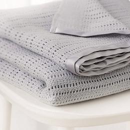 Satin-Edged Baby Blanket - Pram Blanket  - Gray