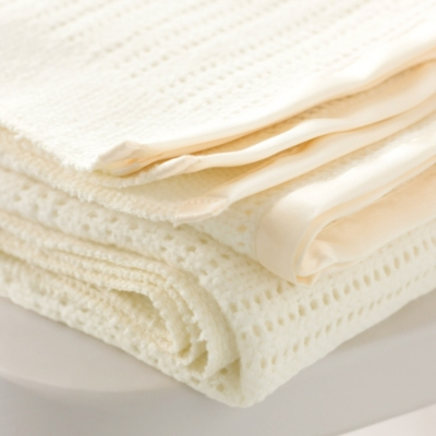 Satin Edged Pram Baby Blanket - Ivory